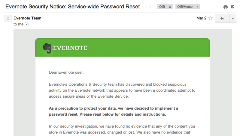 Evernote mass email informing all users about the security breach and the system-wide password reset
